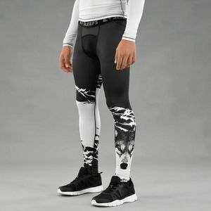 [Sleefs] Boys wolf print athletic tights.